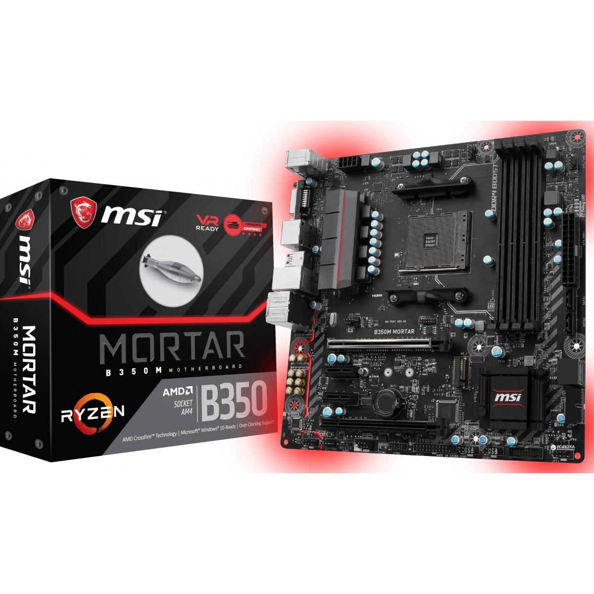 Placa Mãe MSI B350M Mortar, Chipset, B350, AMD AM4, mATX, DDR4