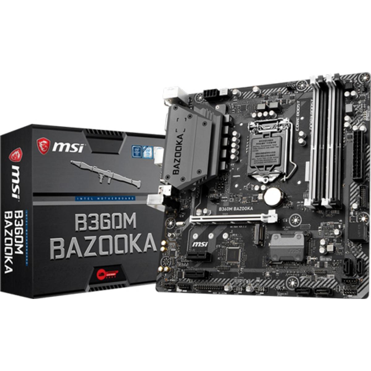 Placa Mãe MSI B360M BAZOOKA, Chipset B360, Intel LGA 1151, mATX, DDR4