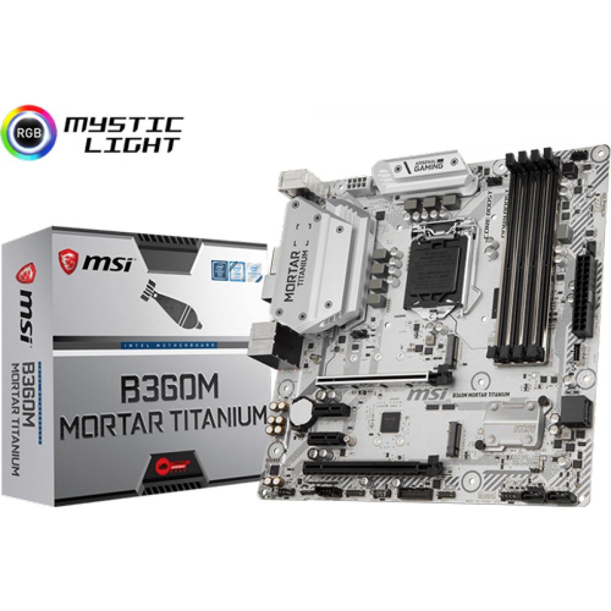 Placa Mãe MSI B360M Mortar Titanium, Chipset B360, Intel LGA 1151, mATX, DDR4