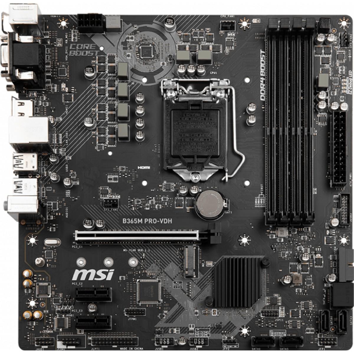 Placa Mãe MSI B365M PRO-VDH, Chipset B365, LGA 1151, mATX, DDR4