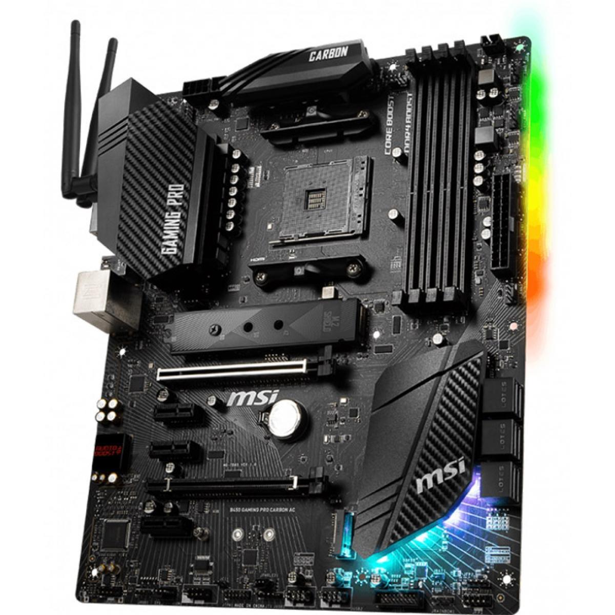 Placa Mãe MSI B450 Gaming Pro Carbon Ac, Chipset B450, AMD AM4, ATX, DDR4