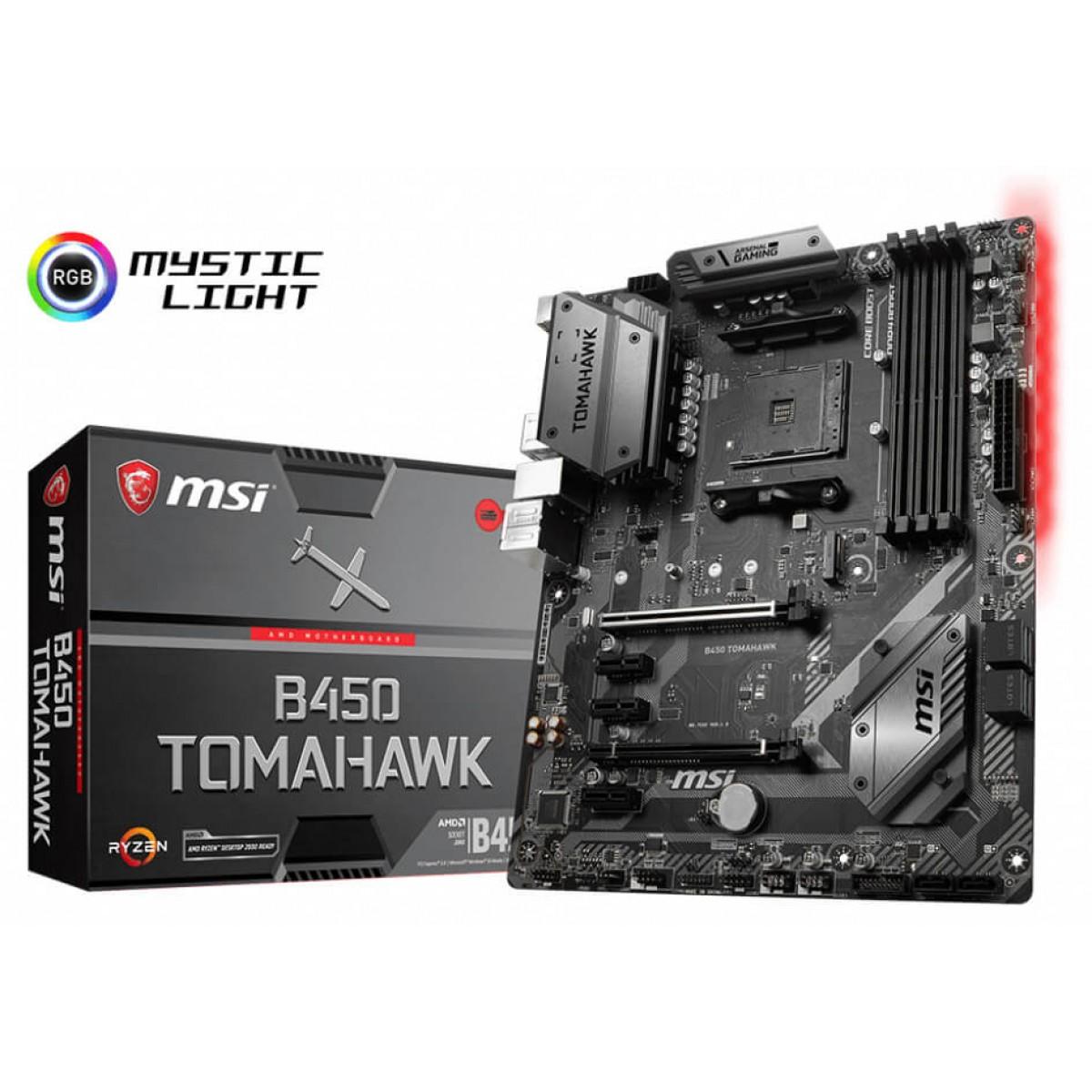 Placa Mãe MSI B450 Tomahawk, Chipset B450, AMD AM4, ATX, DDR4
