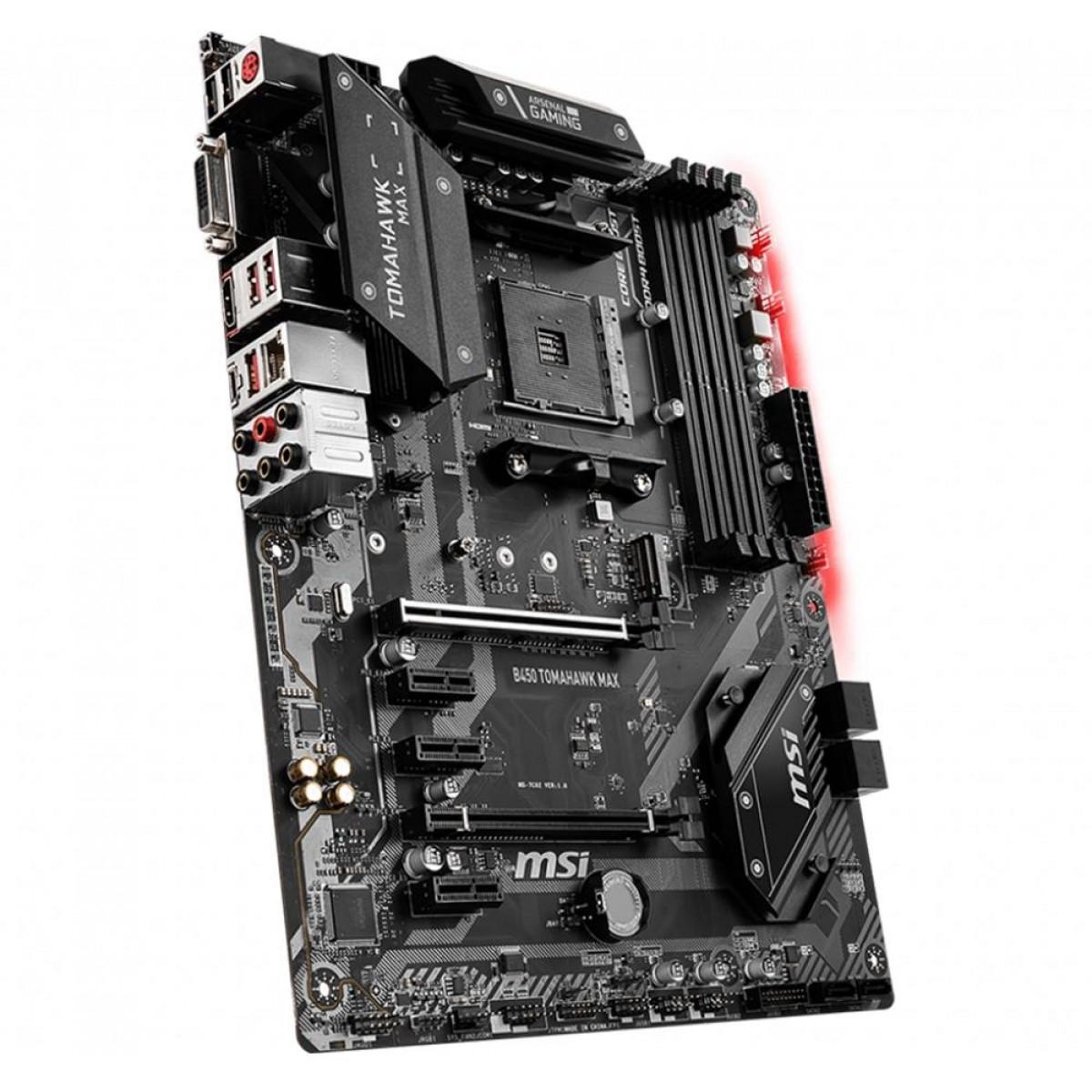Placa Mãe MSI B450 Tomahawk Max, Chipset B450, AMD AM4, ATX, DDR4