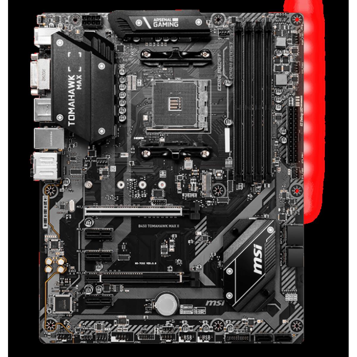 Placa Mãe MSI B450 Tomahawk Max II, Chipset B450, AMD AM4, ATX, DDR4