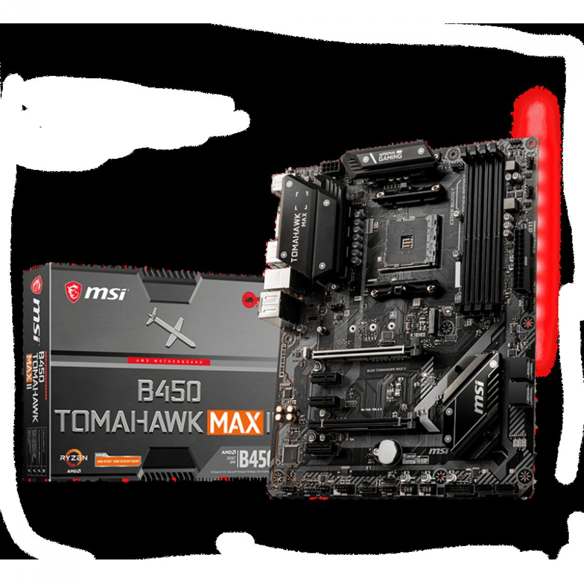 Placa Mãe MSI B450 Tomahawk Max II, Chipset B450, AMD AM4, ATX, DDR4, 911-7C02-034