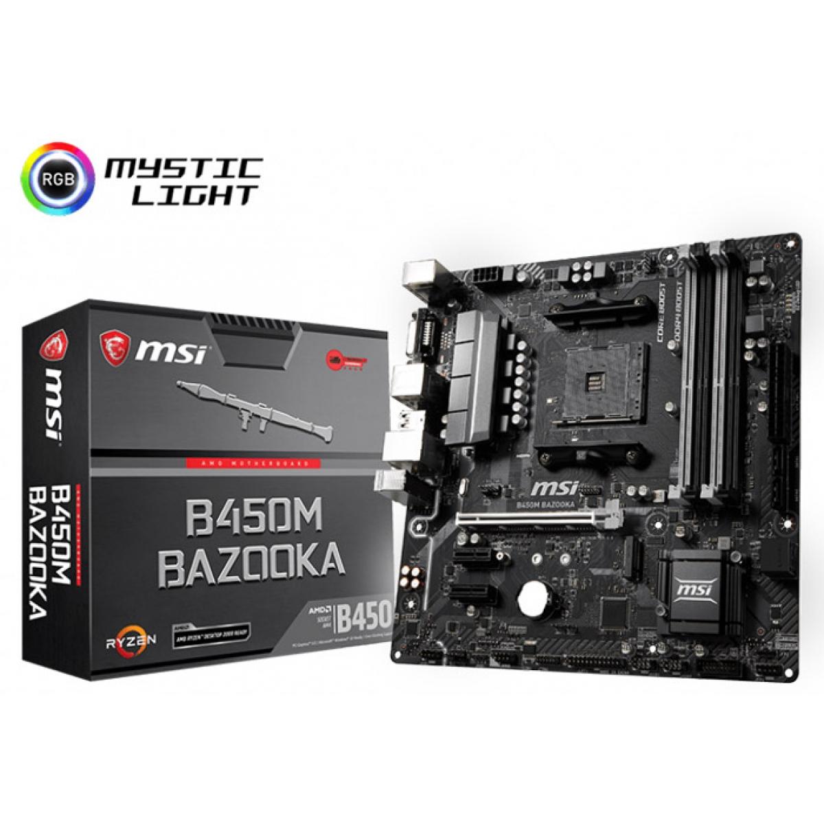 Placa Mãe MSI B450M Bazooka, Chipset B450, AMD AM4, mATX, DDR4