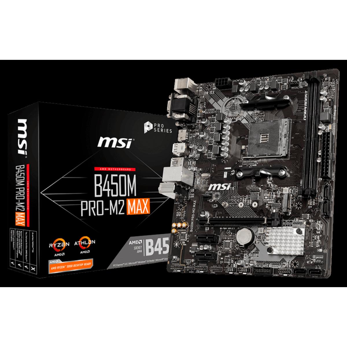 Placa Mãe MSI B450M PRO-M2 MAX, Chipset B450, AMD AM4, mATX, DDR4