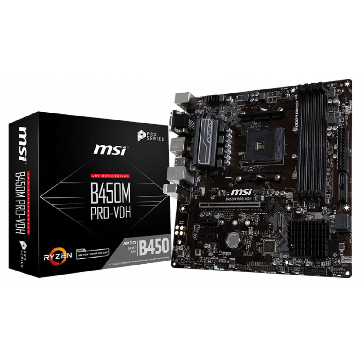 Placa Mãe MSI B450M PRO-VDH, Chipset B450, AMD AM4, mATX, DDR4