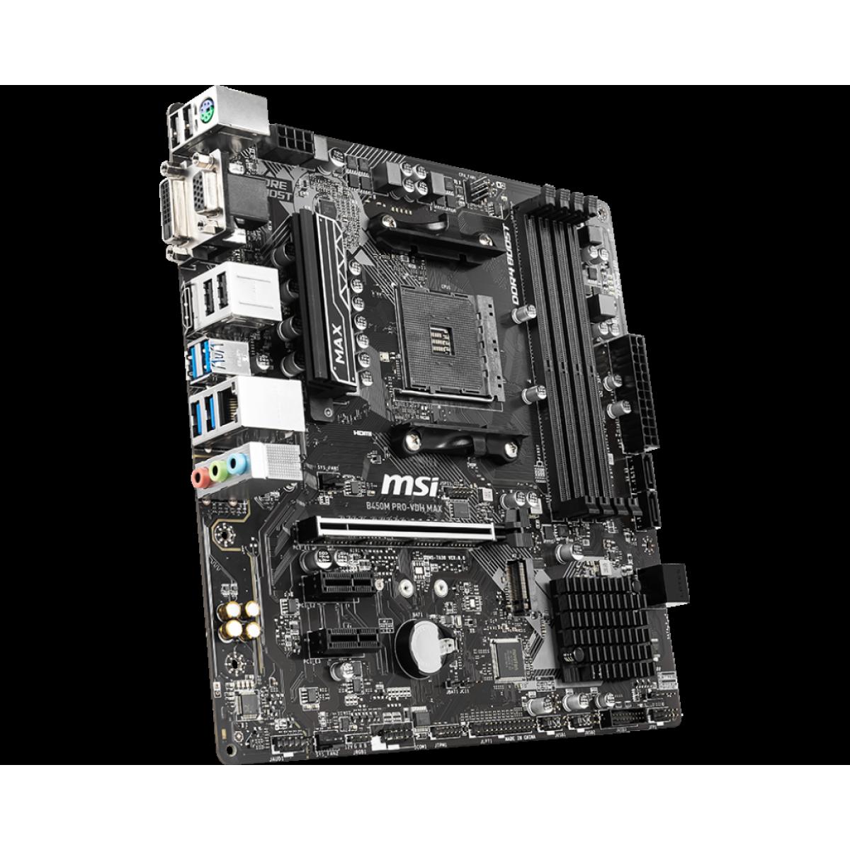 Placa Mãe MSI B450M PRO-VDH MAX, Chipset B450, AMD AM4, mATX, DDR4, 911-7A38-049