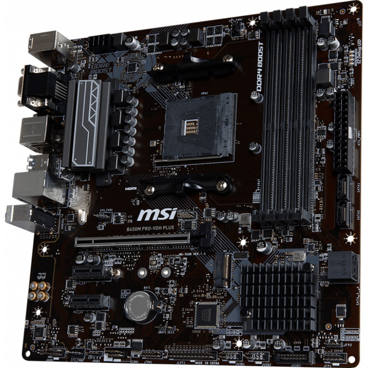 Placa Mãe MSI B450M PRO-VDH PLUS, Chipset B450, AMD AM4, mATX, DDR4