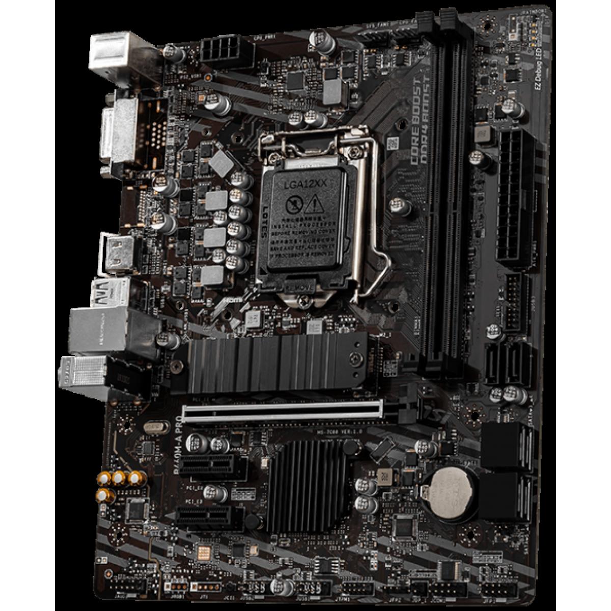Placa Mãe MSI B460M-A PRO, Chipset B460M, INTEL LGA 1200, mATX, DDR4, 911-7C88-007