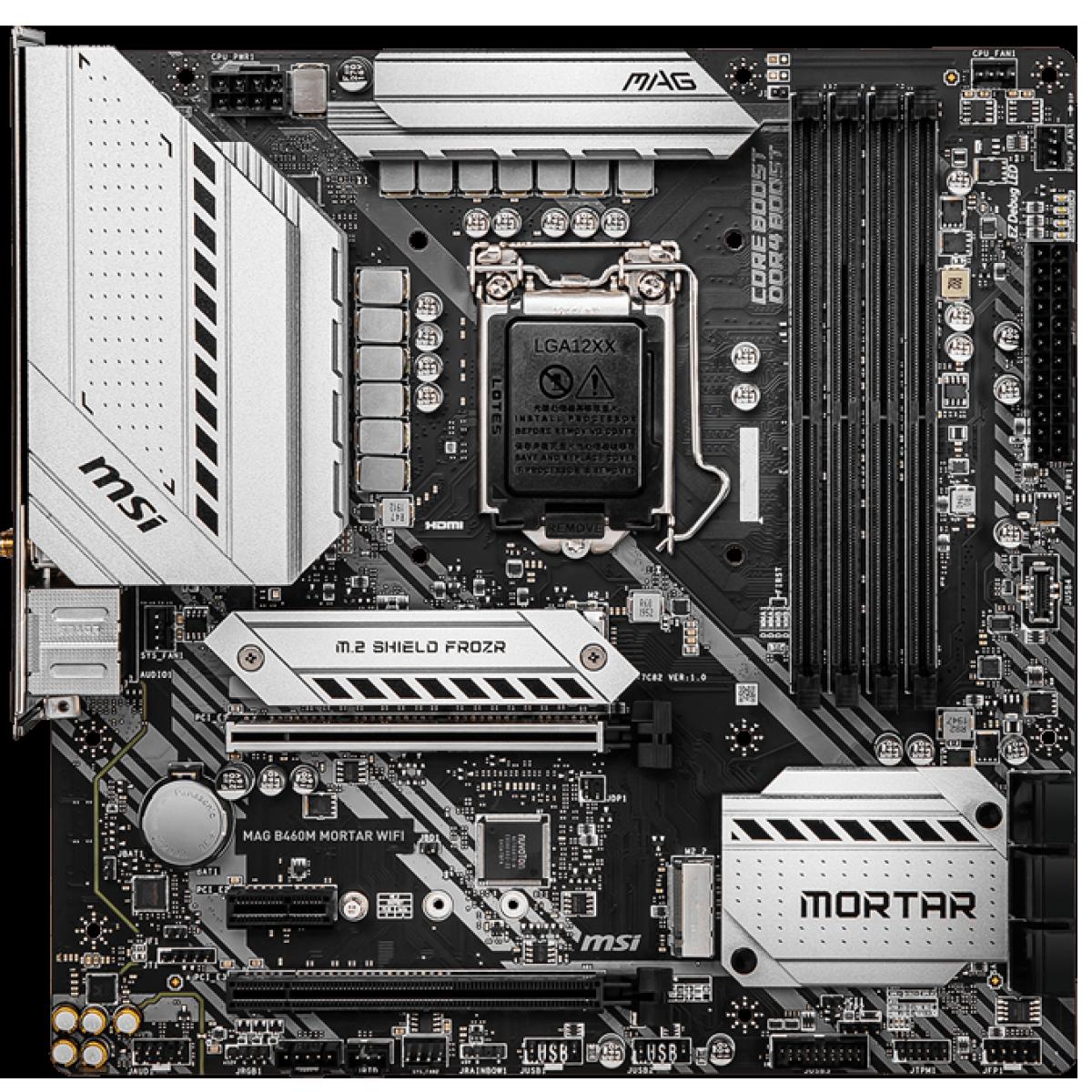 Placa Mãe MSI MAG B460M Mortar WIFI, Chipset B460, INTEL LGA 1200, mATX, DDR4