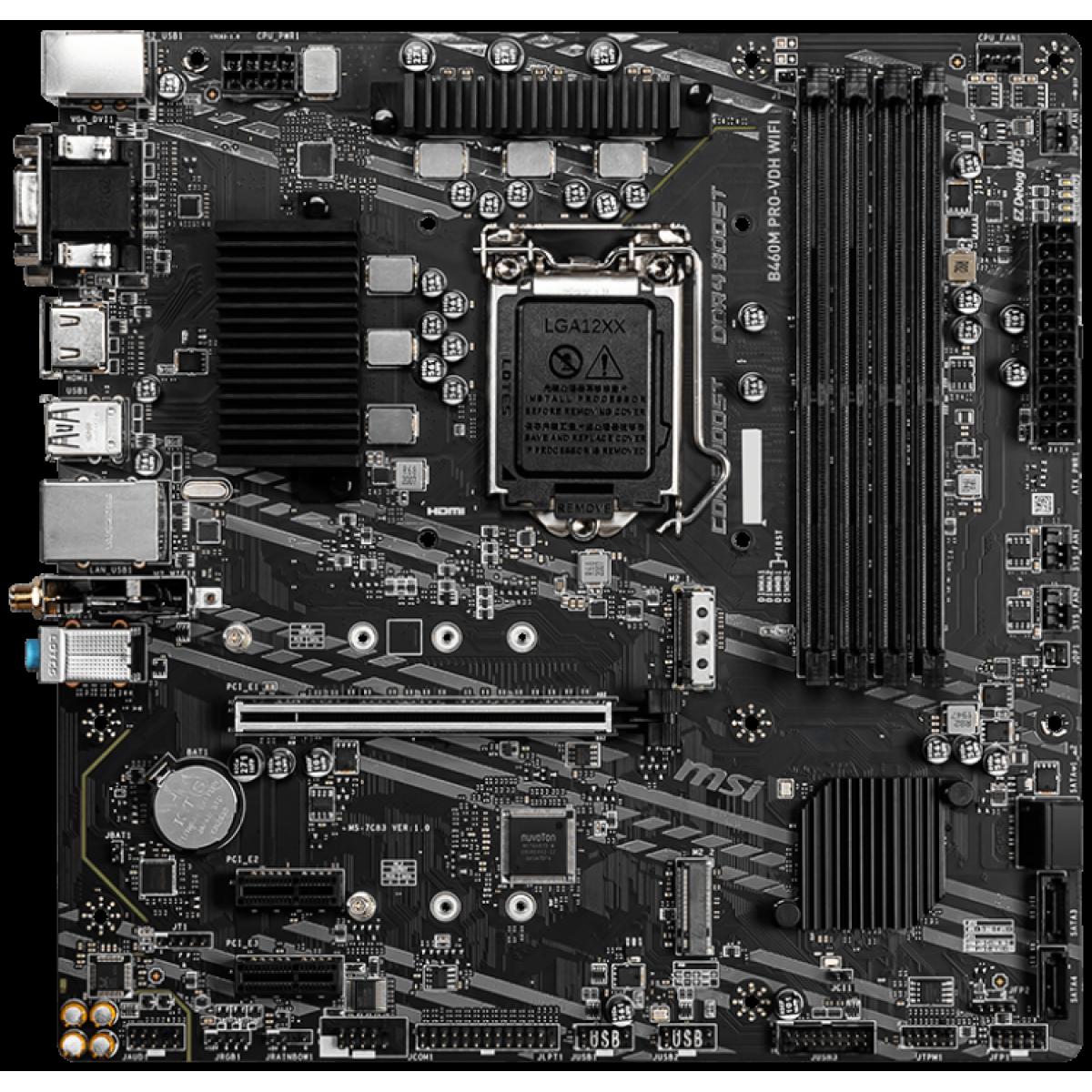 Placa Mãe MSI B460M PRO-VDH WIFI, Chipset B460M, INTEL LGA 1200, mATX, DDR4, 911-7C83-011