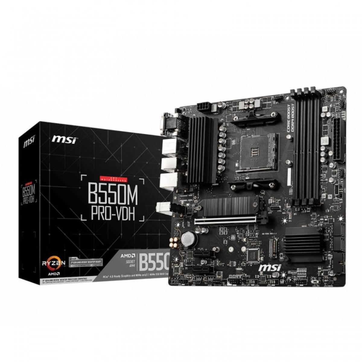 Placa Mãe MSI B550M PRO-VDH, Chipset B550, AMD AM4, mATX, DDR4