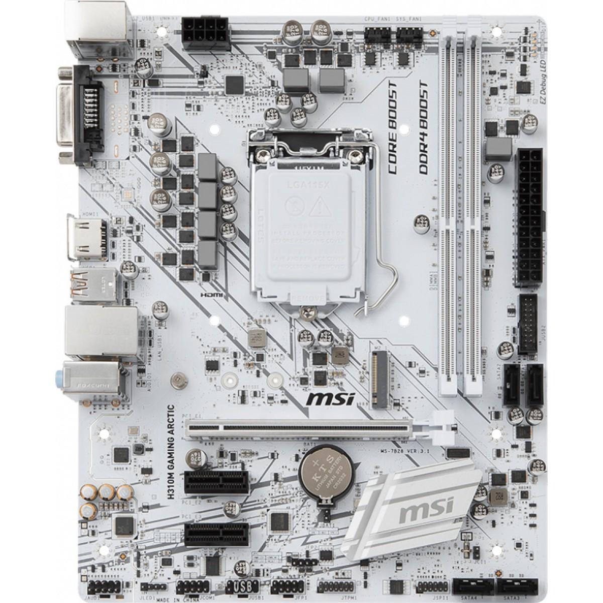 Placa Mãe MSI H310M Gaming Arctic, Chipset H310, Intel LGA 1151, mATX, DDR4