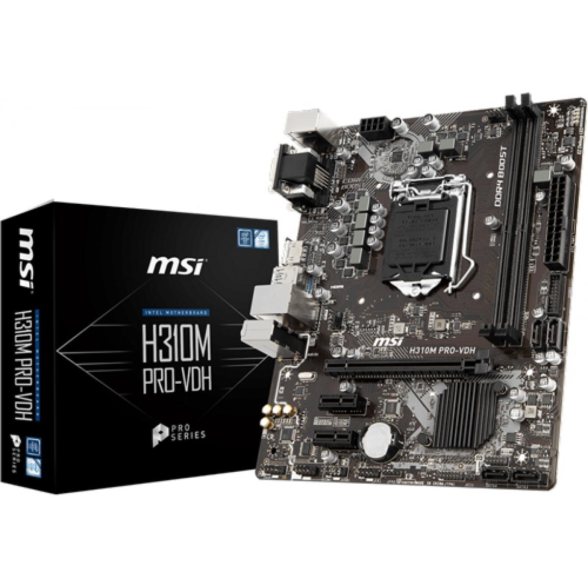 Placa Mãe MSI H310M PRO-VDH, Chipset H310, Intel LGA 1151, mATX, DDR4
