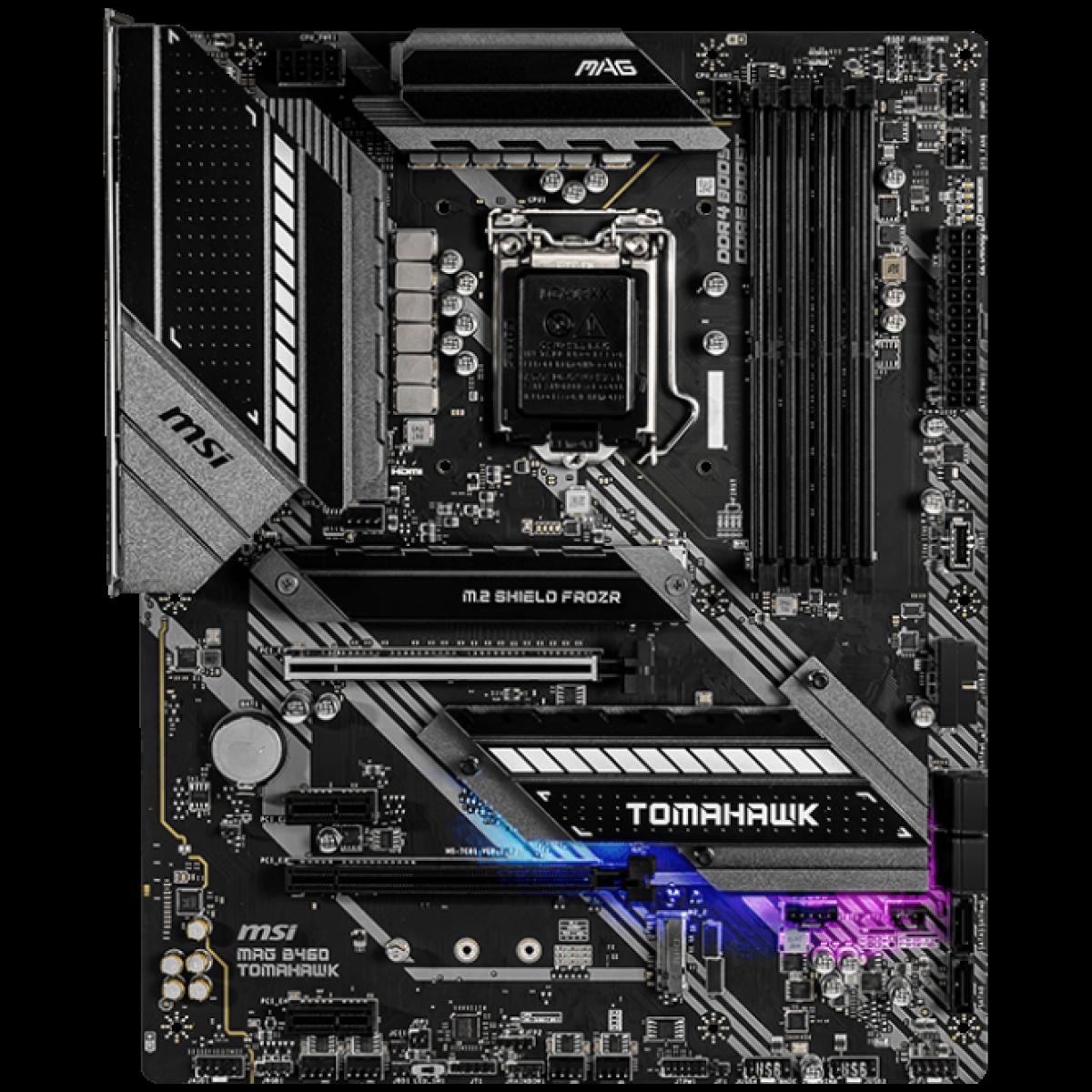 Placa Mãe MSI MAG B460 TOMAHAWK, Chipset B460, INTEL LGA 1200, ATX, DDR4, 911-7C81-006
