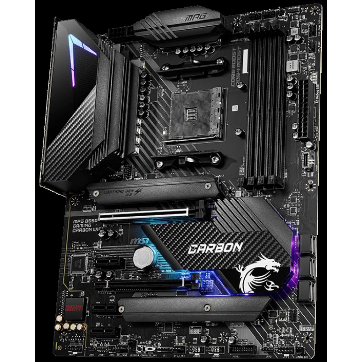 Placa Mãe MSI, MPG B550 Gaming Carbon WIFI, Chipset B550, AMD AM4, ATX, DDR4