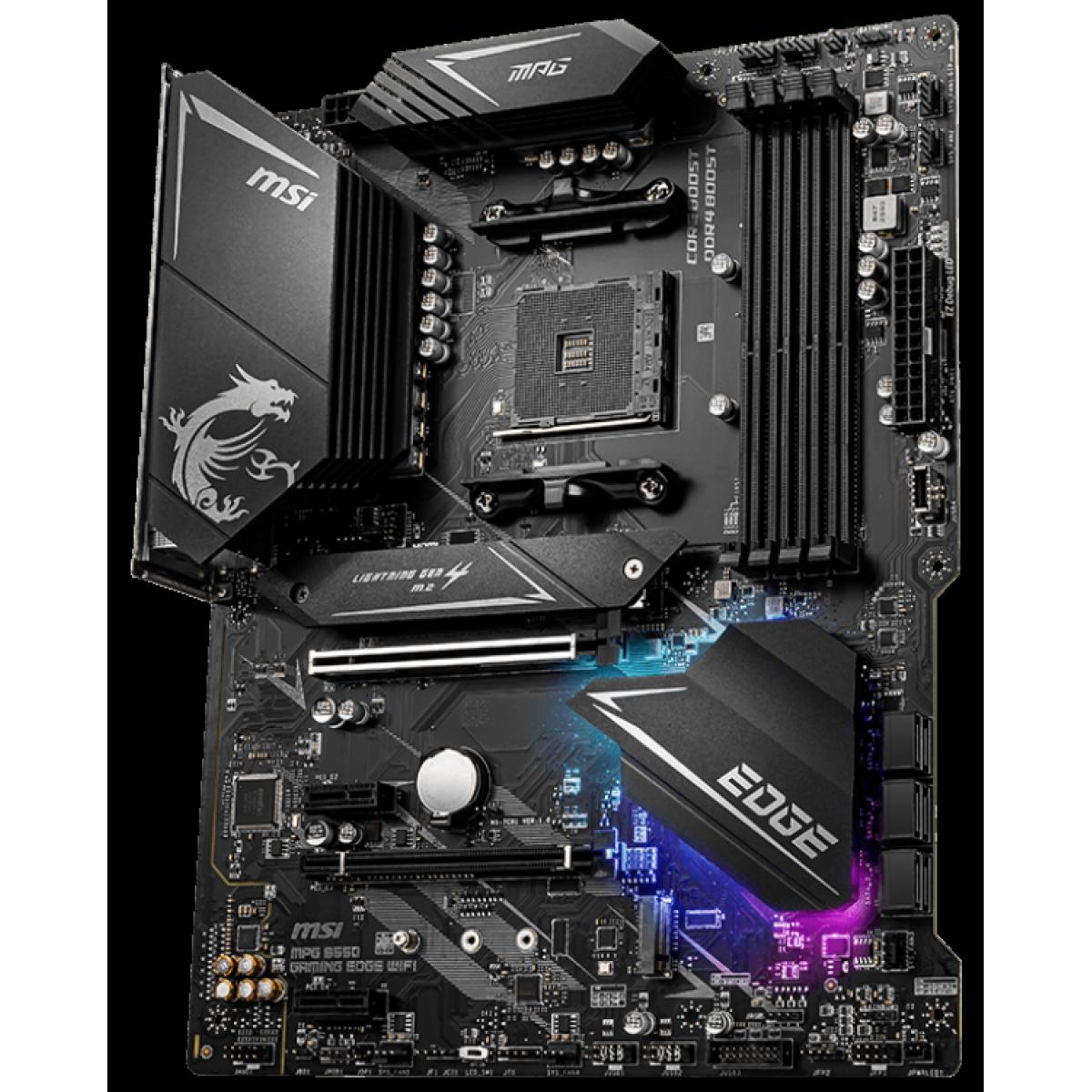 Placa Mãe MSI, MPG B550 Gaming EDGE WIFI, Chipset B550, AMD AM4, ATX, DDR4