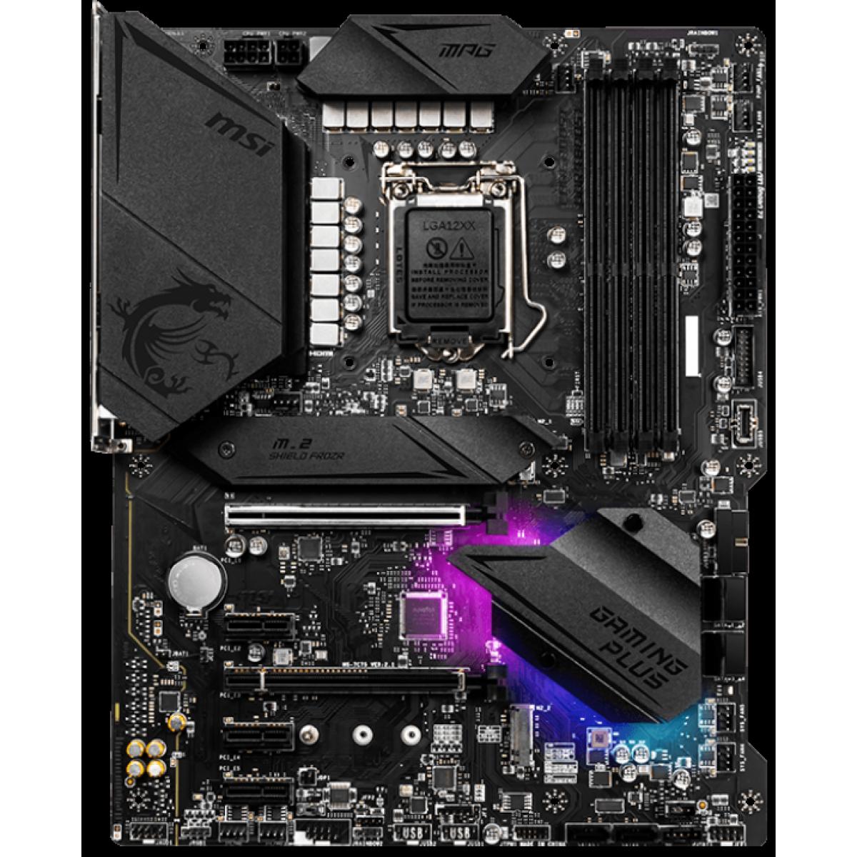 Placa Mãe MSI, MPG Z490 Gaming Plus, Chipset Z490, Intel LGA1200, ATX, DDR4
