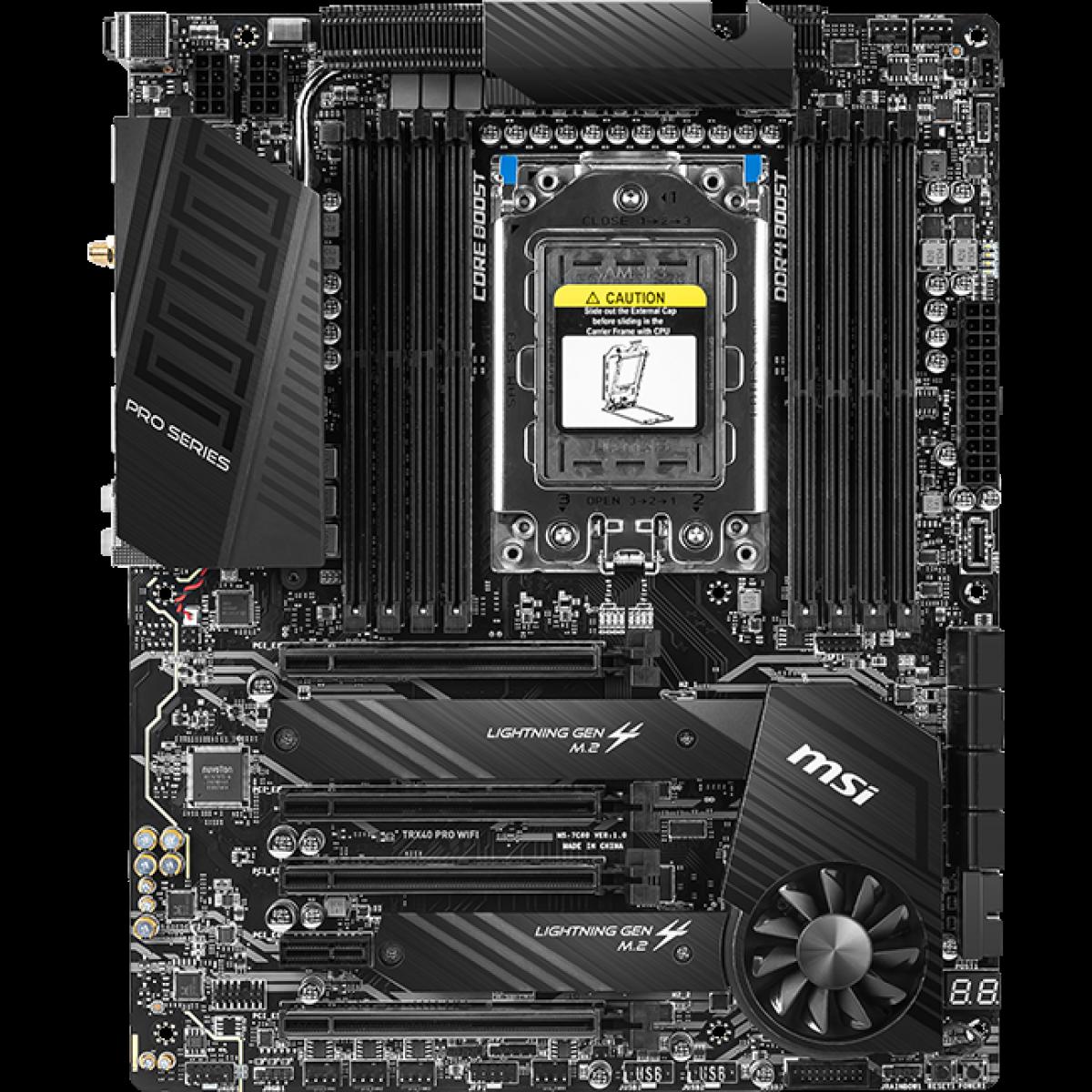 Placa Mãe MSI TRX40 PRO Wifi, Chipset TRX40, Wi-Fi, AMD TRX4, ATX, DDR4