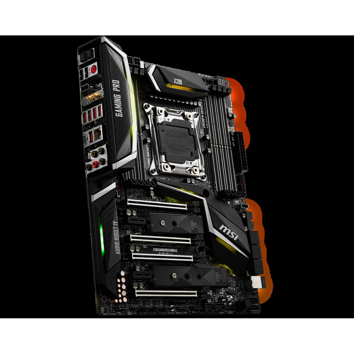 Placa Mãe MSI X299 GAMING PRO CARBON AC, Chipset X299, Intel LGA 2066, ATX, DDR4