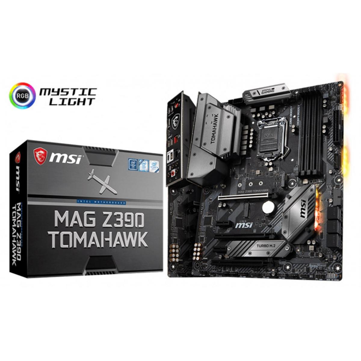 Placa Mãe MSI Z390 Mag Tomahawk, Chipset Z390, Intel LGA 1151, ATX, DDR4