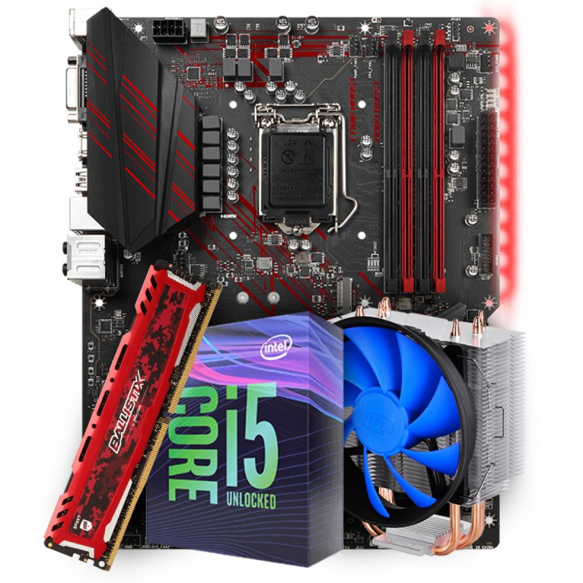 Placa Mãe MSI Z390 Mpg Gaming Plus LGA 1151 + Processador Intel Core i5 9600KF 3.70GHz + Cooler DeepCool Gammaxx 300 + Memória DDR4 16GB 2666MHz