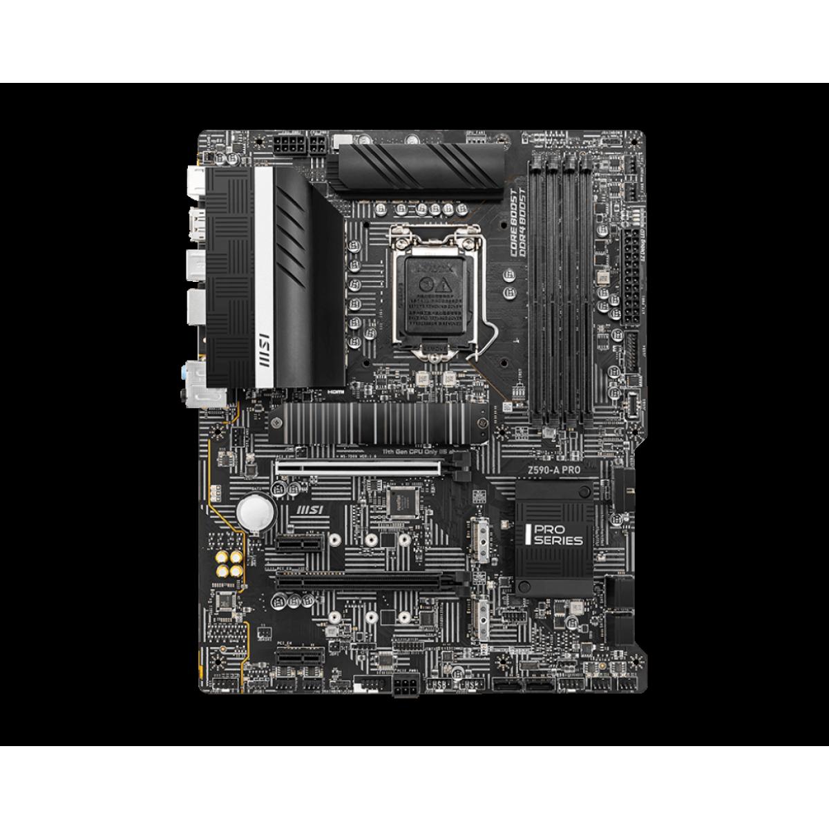 Placa Mãe MSI Z590-A PRO, Intel Z590 Chipset, Socket 1200, ATX, DDR4