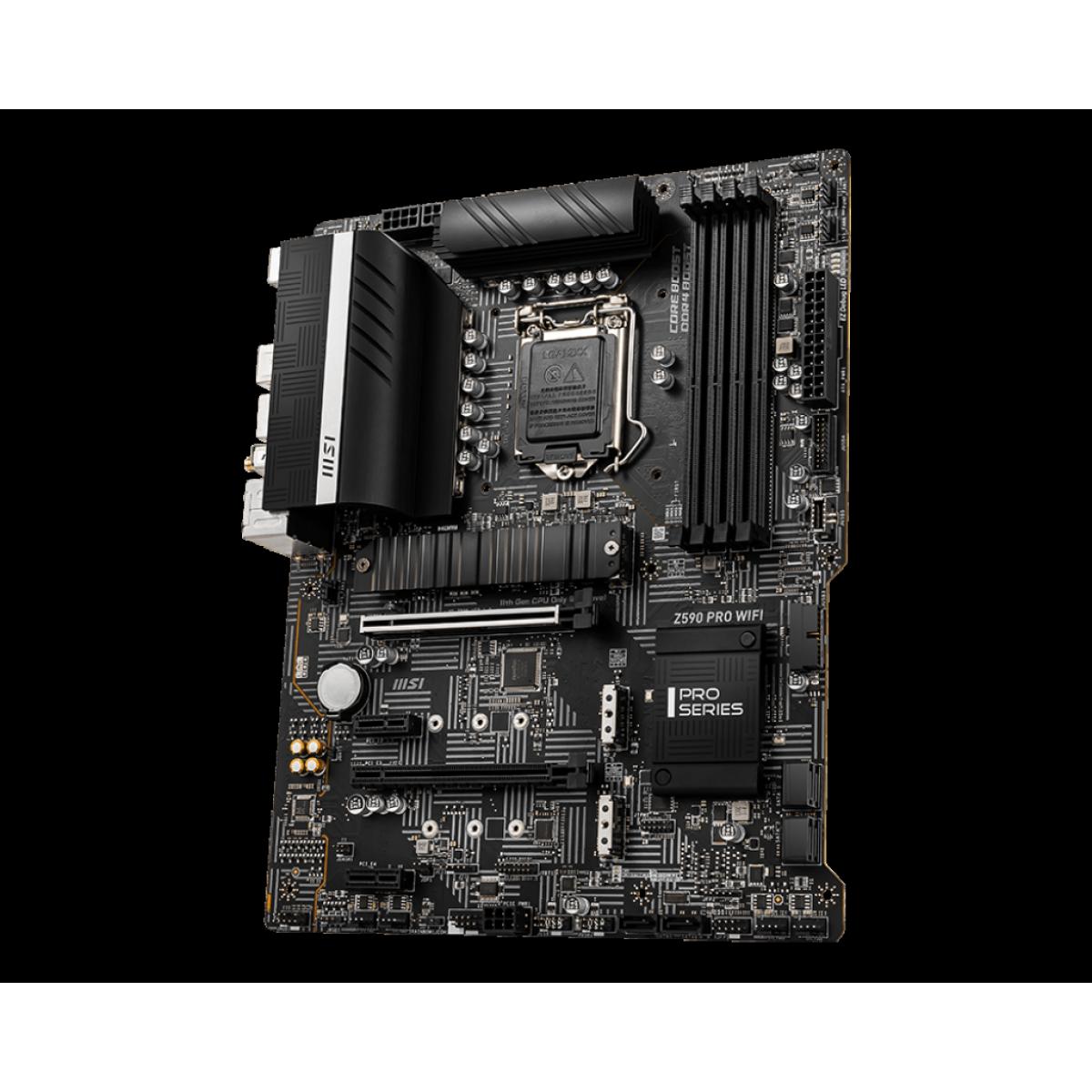 Placa Mãe MSI Z590 PRO WIFI, Intel Z590 Chipset, Socket 1200, ATX, DDR4