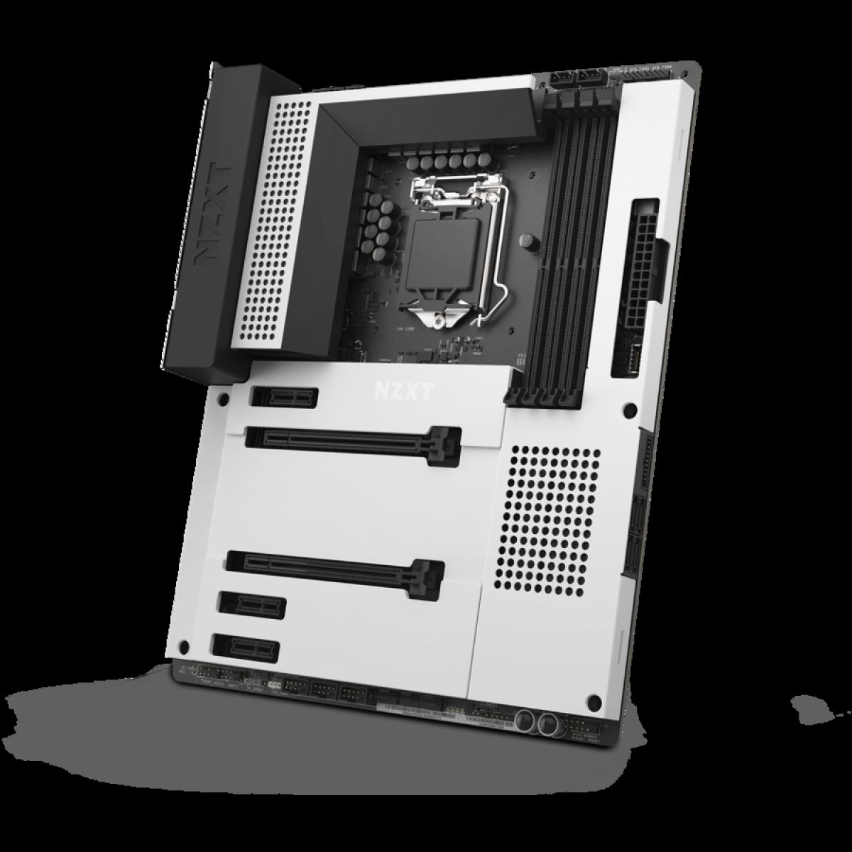 Placa Mãe NZXT N7 Z490, Chipset Z490, Intel LGA 1200, ATX, DDR4, White, N7-Z49XT-W1