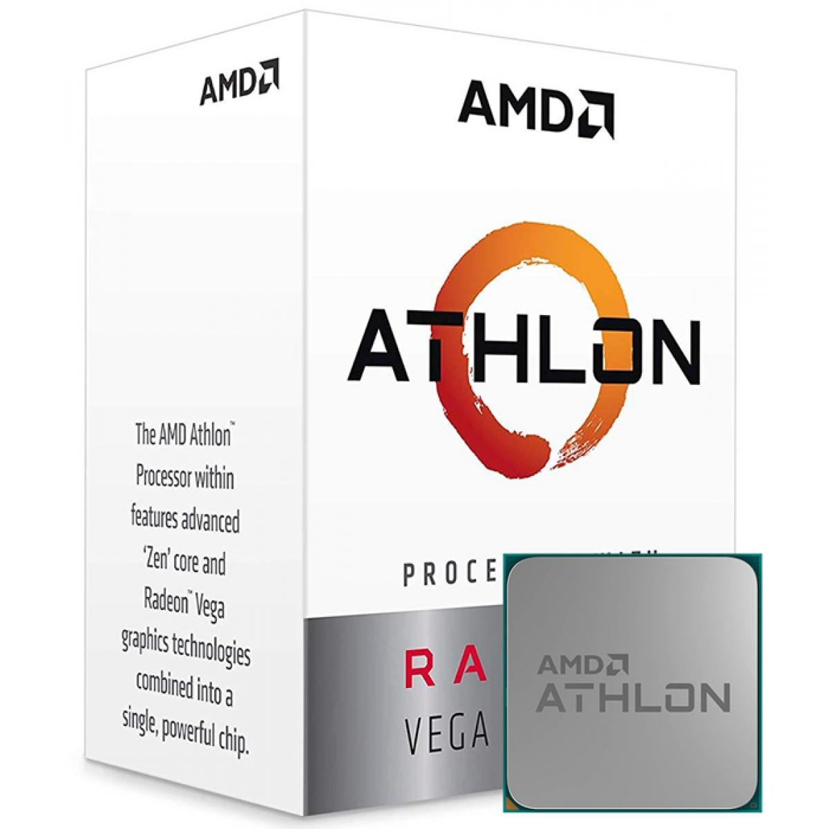 Processador AMD Athlon 220GE 3.4GHz, 2-Core 4-Thread, AM4, YD220GC6FBBOX IMP
