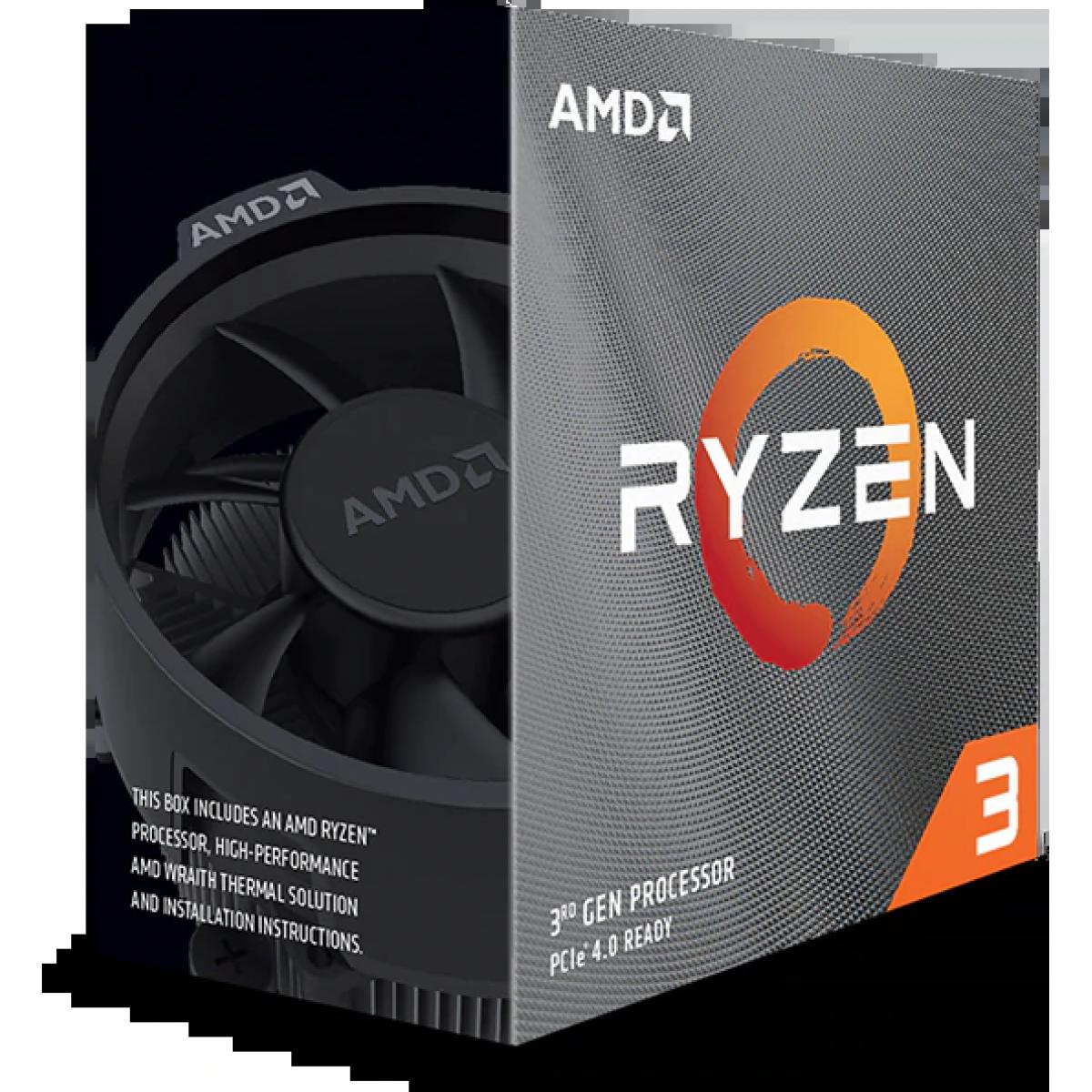 Processador AMD Ryzen 3 3100 3.6GHz (3.9GHz Turbo), 4-Cores 8-Threads, Cooler Wraith Stealth, AM4, 100- 100000284BOX