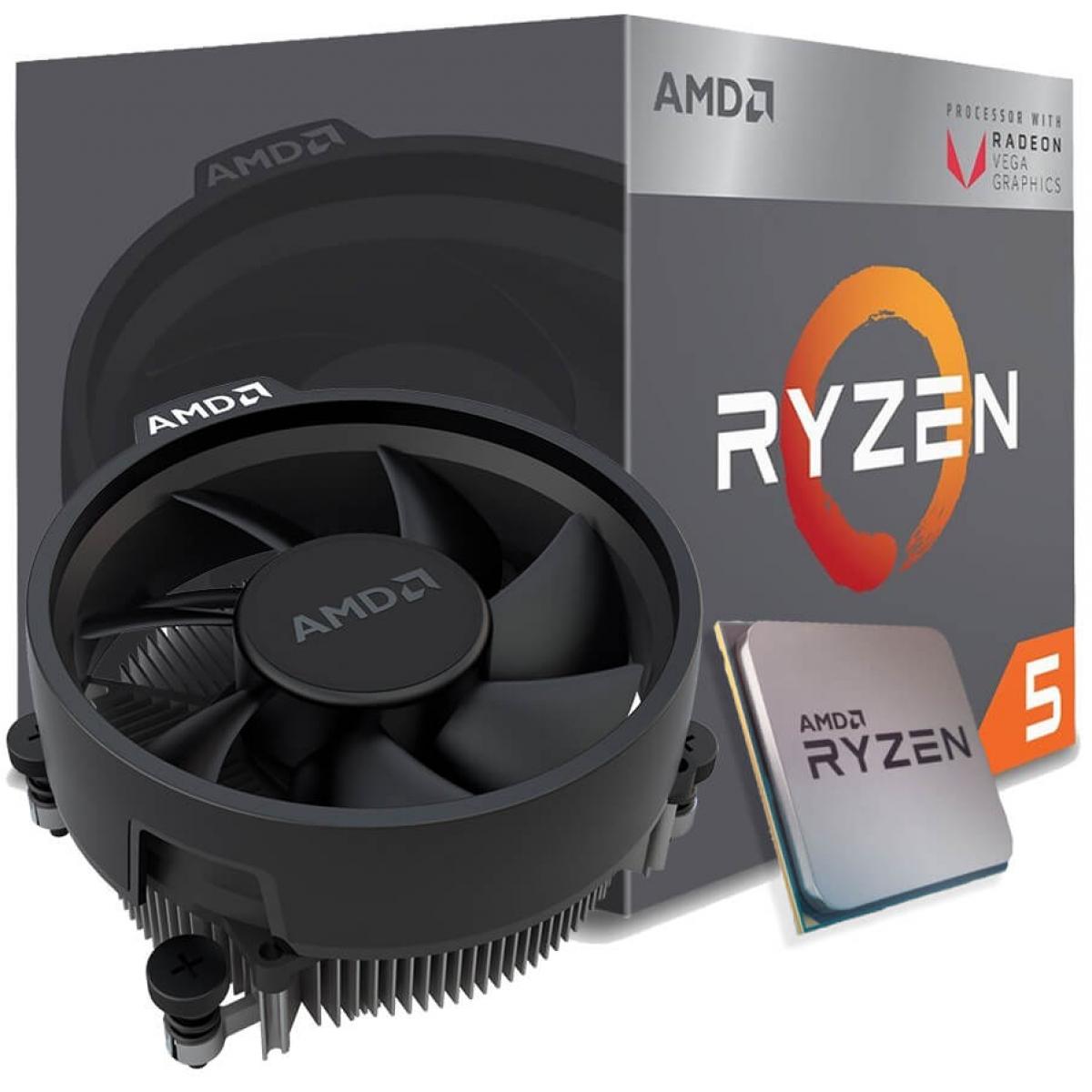 Processador AMD Ryzen 5 2400G 3.6GHz (3.9GHz Turbo), 4-Cores 8-Threads, Cooler Wraith Stealth, AM4, YD2400C5FBBOX