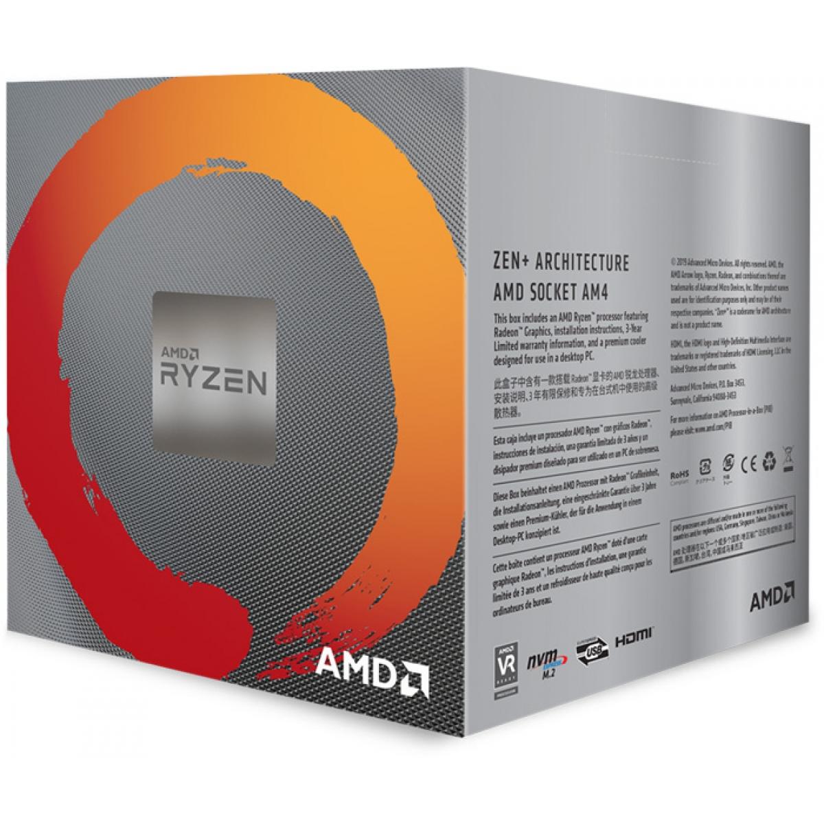 Processador AMD Ryzen 5 3400G 3.7GHz (4.2GHz Turbo), 4-Core 8-Thread, Cooler Wraith Stealth, AM4