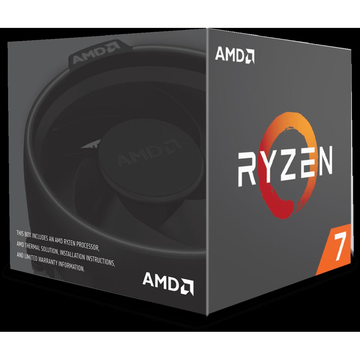 Processador AMD Ryzen 7 2700 3.2GHz (4.1GHz Turbo), 8-Cores 16-Threads, Cooler Wraith Spire com LED, AM4, YD2700BBAFBOX, S/ Video