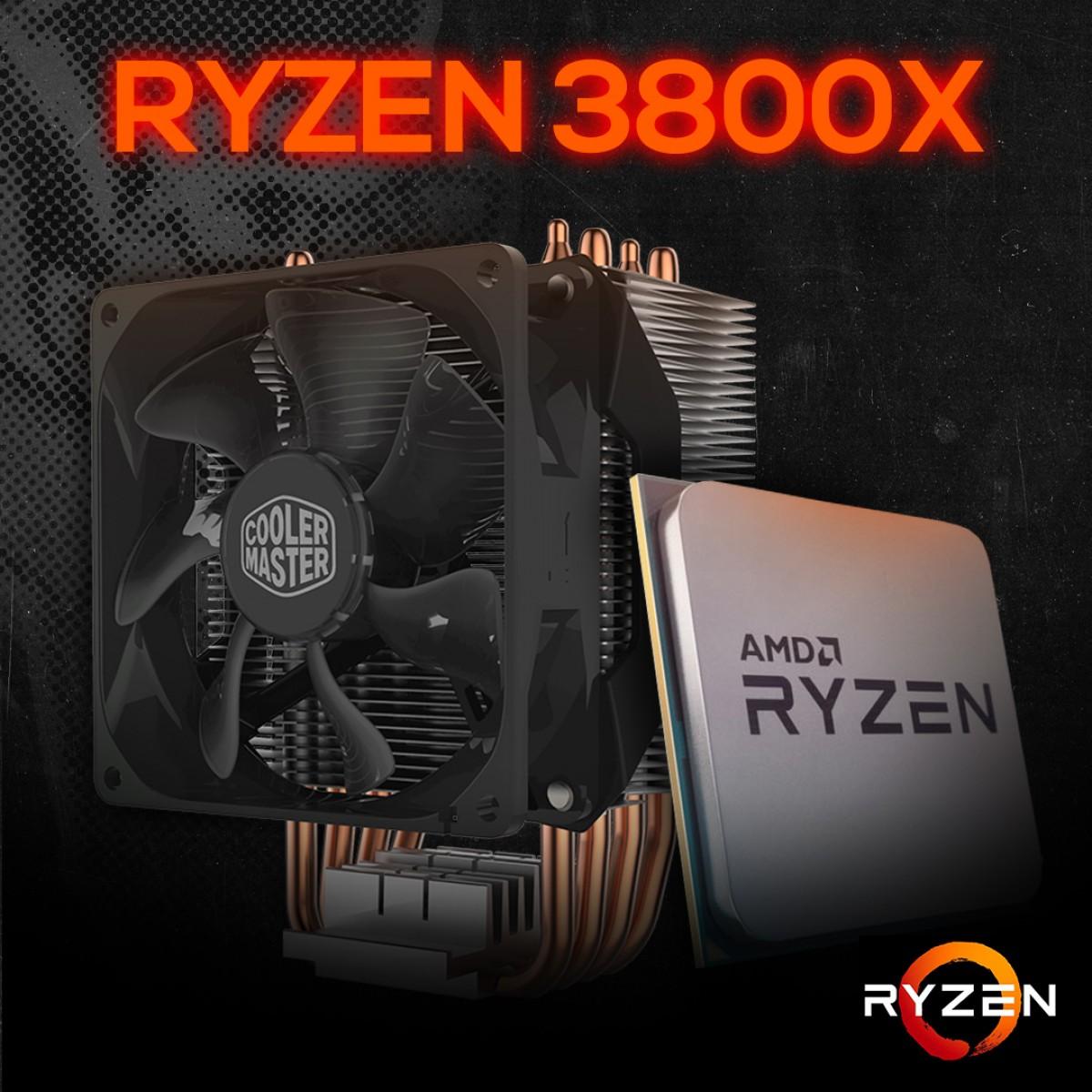 Kit Processador AMD Ryzen 7 3800x 3.9ghz (4.5ghz Turbo), 8-cores 16-threads, +  Cooler Master Hyper H412R 92mm