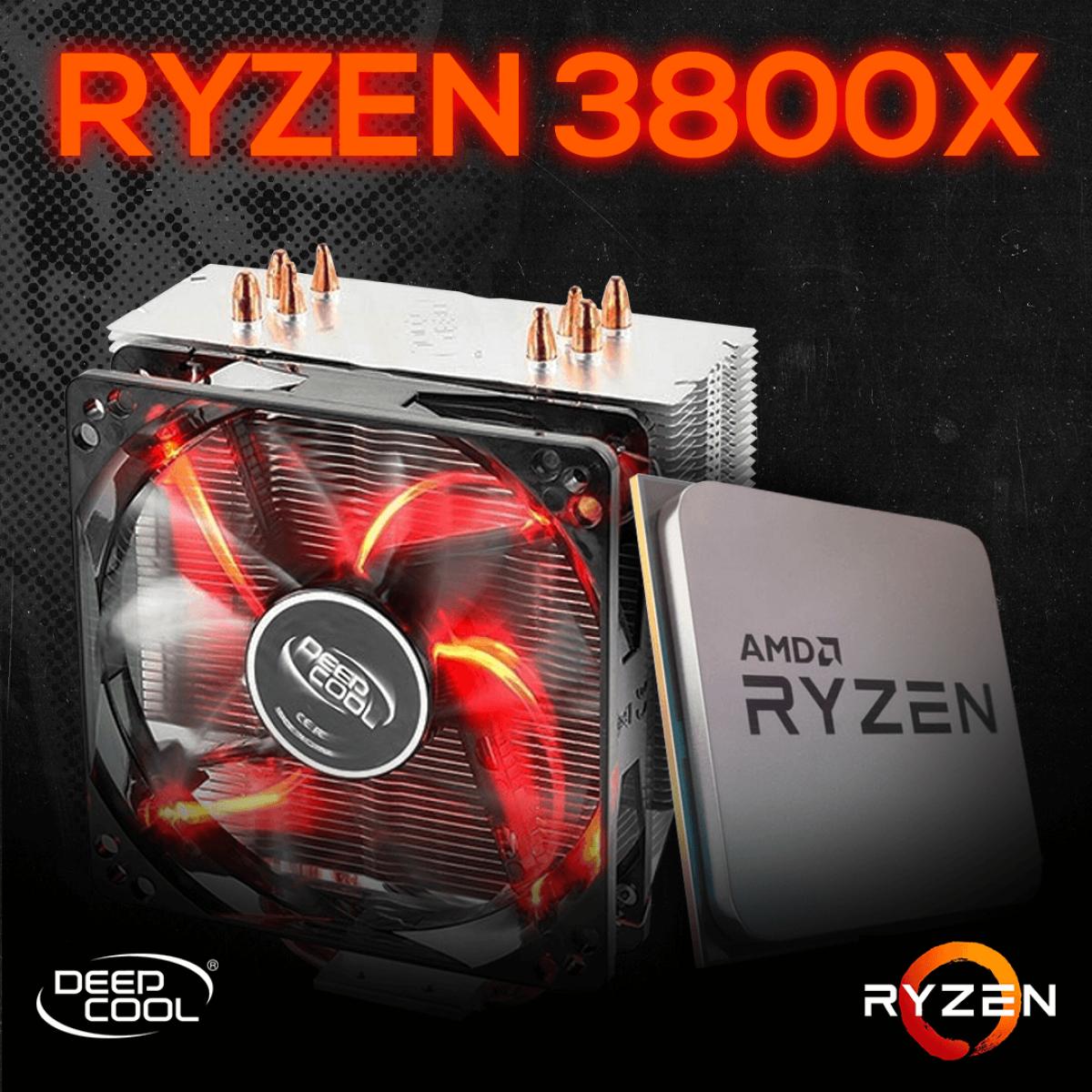 Kit Processador AMD Ryzen 7 3800x 3.9ghz (4.5ghz Turbo), 8-core 16-thread, + Cooler DeepCool Gammaxx 400