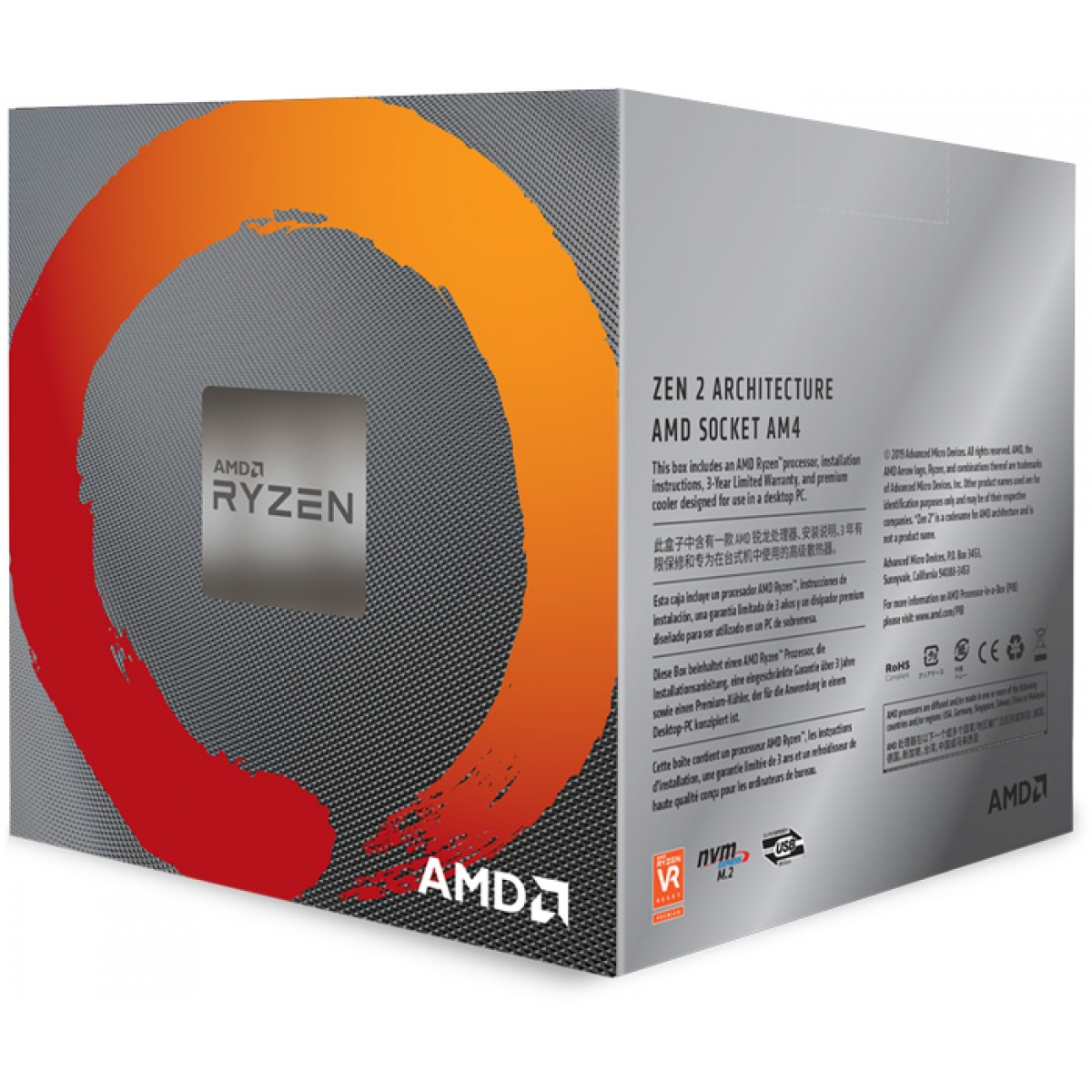 Processador AMD Ryzen 7 3800X 3.9ghz (4.5ghz Turbo), 8-cores 16-threads, Cooler Wraith Prism RGB, AM4, 100-100000025BOX, S/ Video