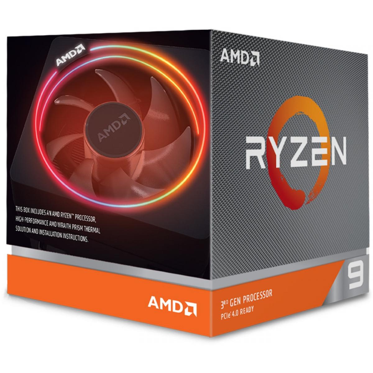 Processador AMD Ryzen 9 3900x 3.8ghz (4.6ghz Turbo), 12-cores 24-threads, Wraith Prism RGB, AM4, 100-100000023BOX, S/ Video