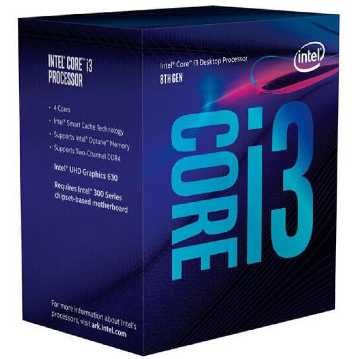 Processador Intel Core i3 8100 3.6GHz, 8ª Geração, 4-Core 4-Thread, LGA 1151, BX80684I38100 Coffee Lake