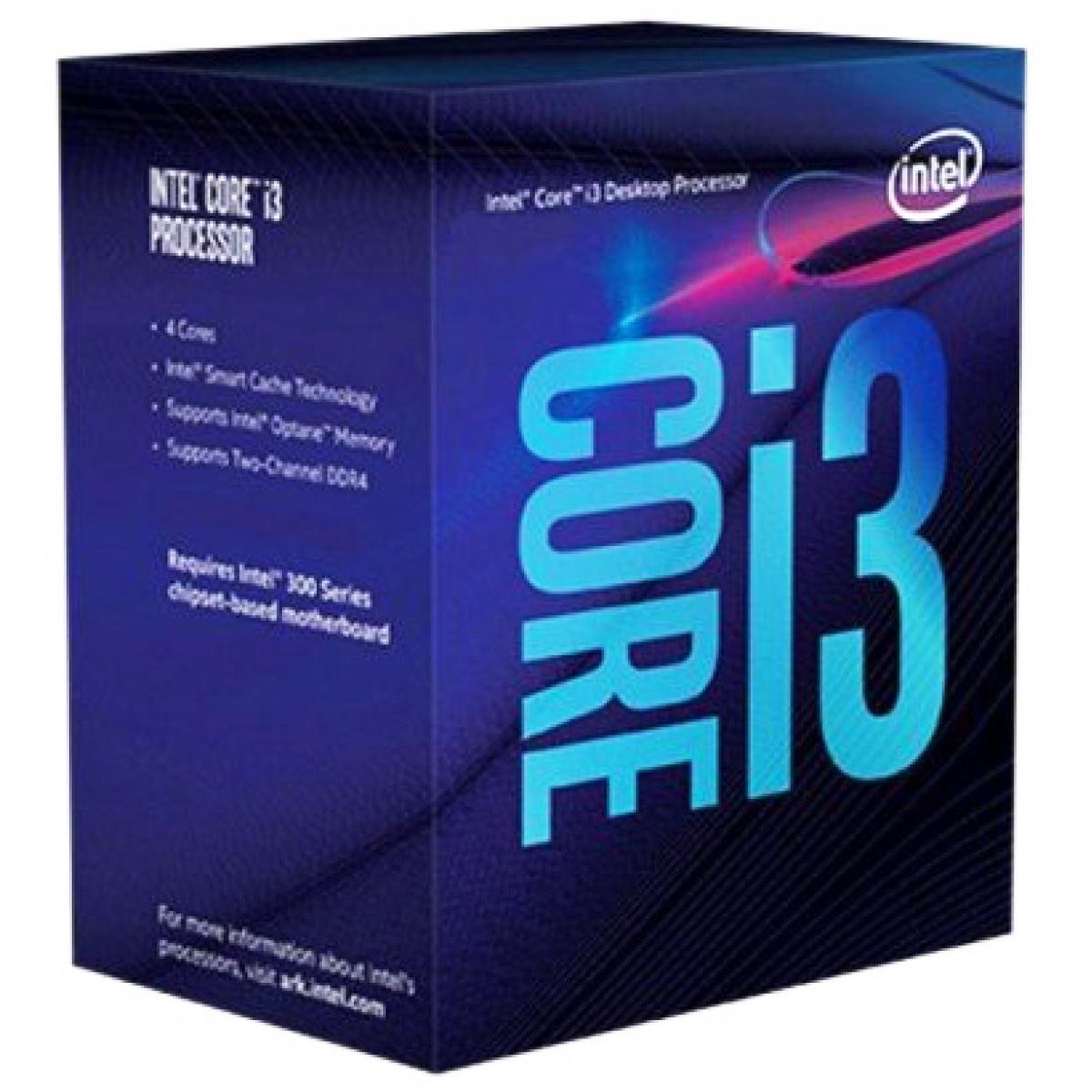 Processador Intel Core i3 9100F 3.6GHz (4.2GHz Turbo), 9ª Geração, 4-Core 4-Thread, LGA 1151, BX80684I39100F