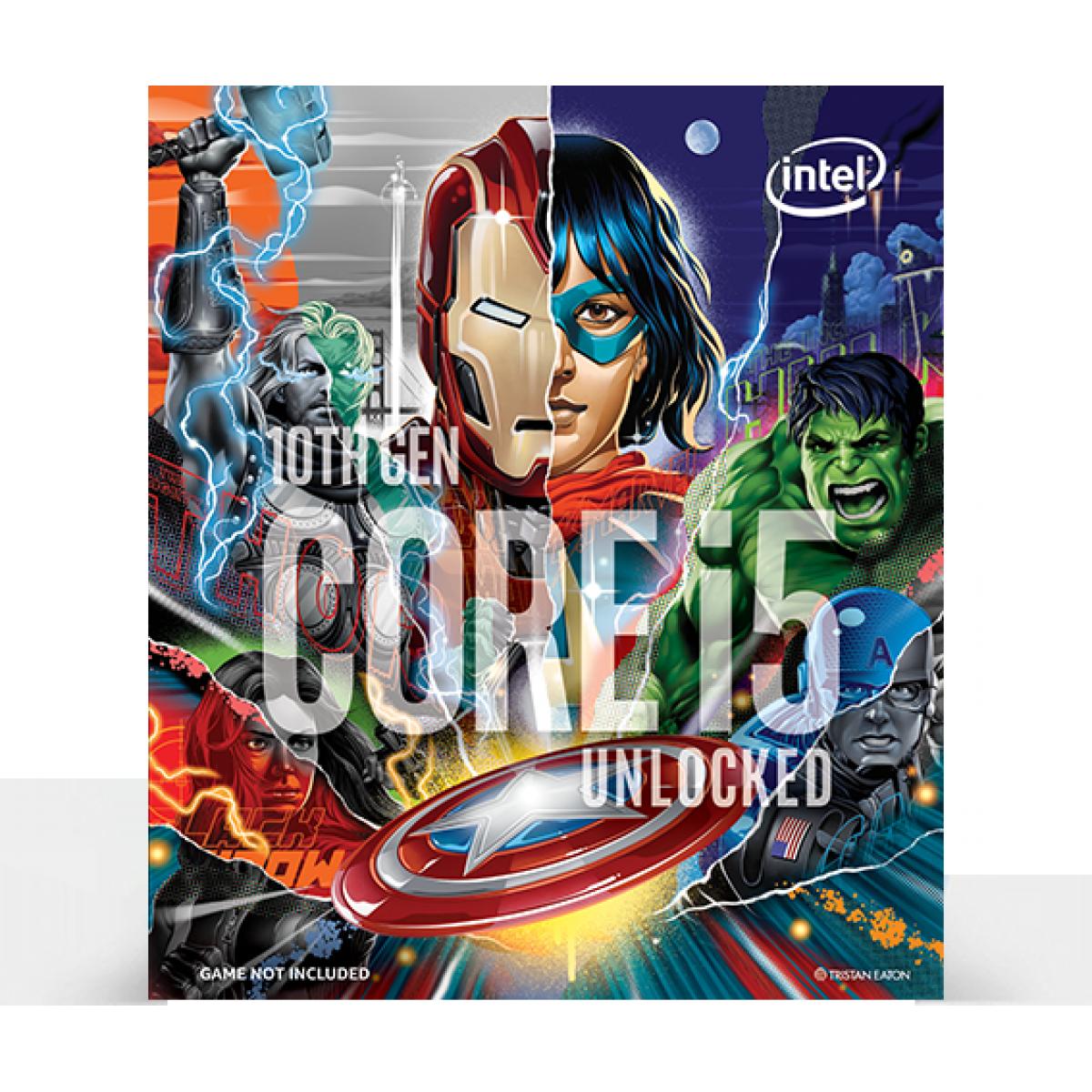 Processador Intel, Core i5 10600KA Avengers Edition, Comet Lake 4.1GHz (4.8GHz Turbo), 6 Cores, 12 Threads, LGA 1200, BX8070110600KA, S/ Vídeo, S/Cooler