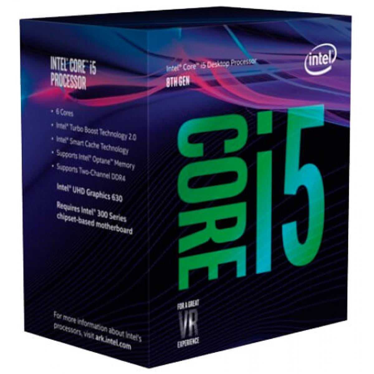 Processador Intel Core i5 8400 2.8GHz (4.0GHz Turbo), 8ª Geração, 6-Core 6-Thread, LGA 1151, BX80684I58400