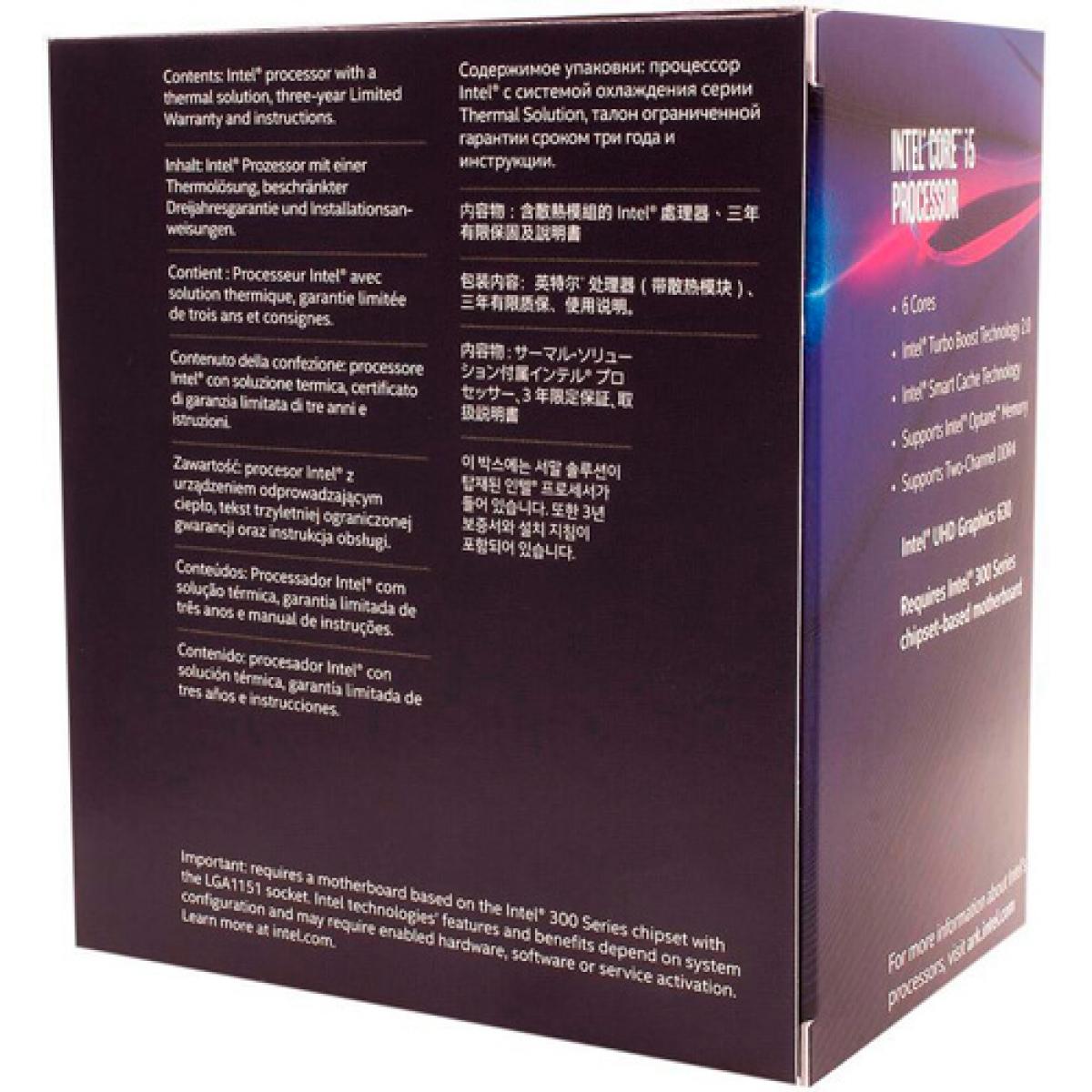 Processador Intel Core i5 8600 3.1GHz (4.3GHz Turbo), 8ª Geração, 6-Core 6-Thread, LGA 1151, BX80684I58600