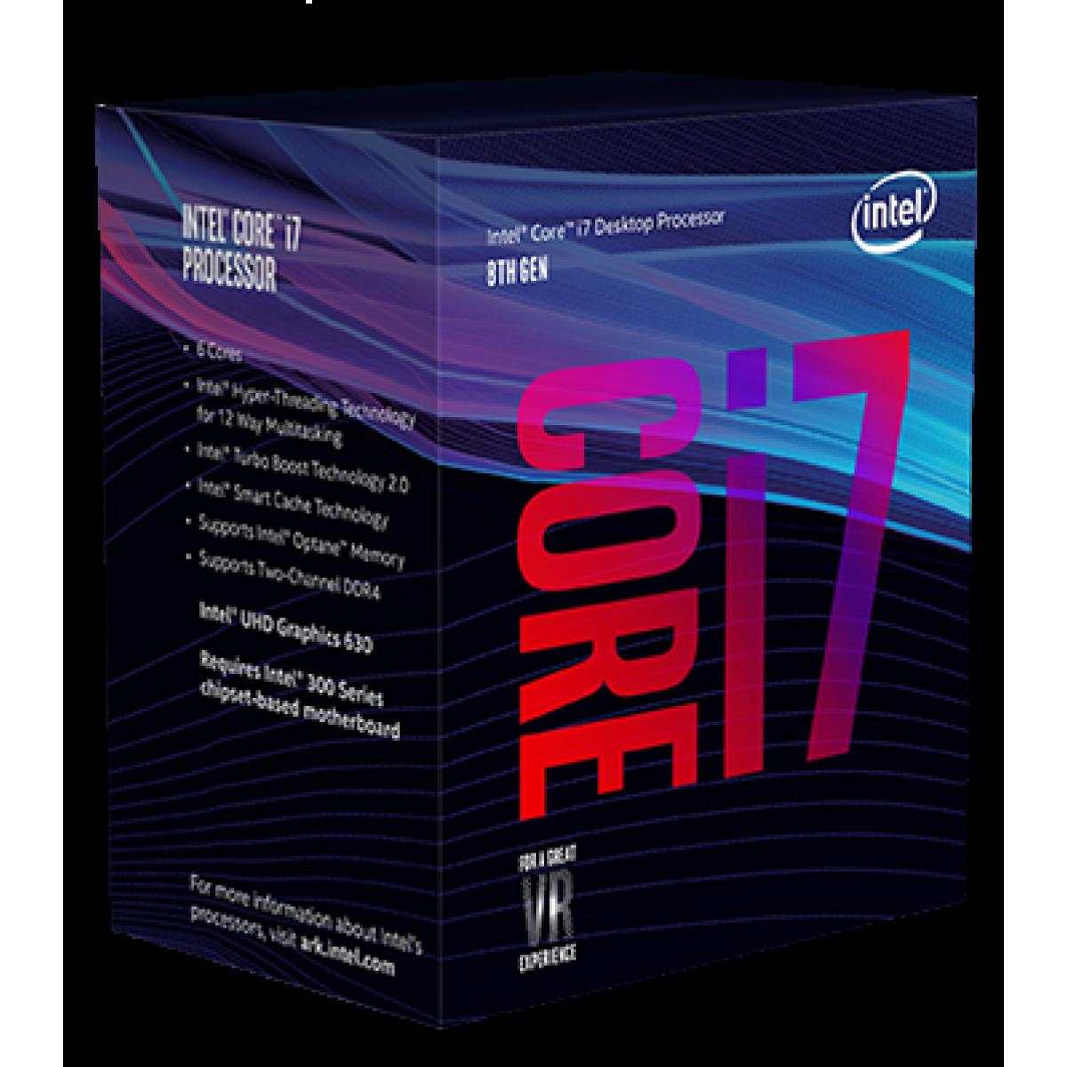 Processador Intel Core i7 8700 3.2GHz (Max Turbo 4.60GHz) 12MB BX80684I78700 8ª Geração Coffee Lake LGA 1151 IMP