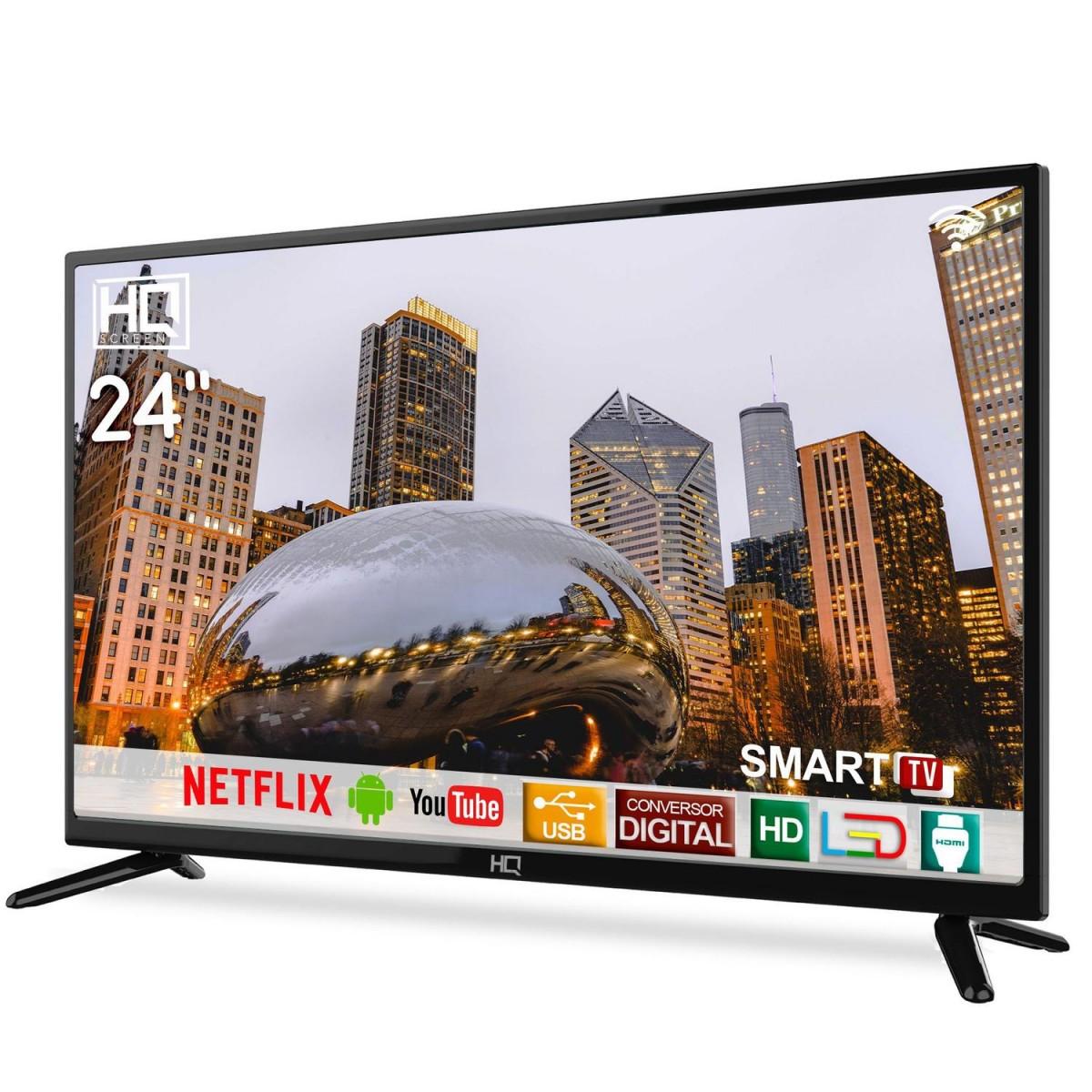 "Smart TV LED 24"" HD HQ HQSTV24NP Netflix Youtube HDMI USB Wi-Fi"
