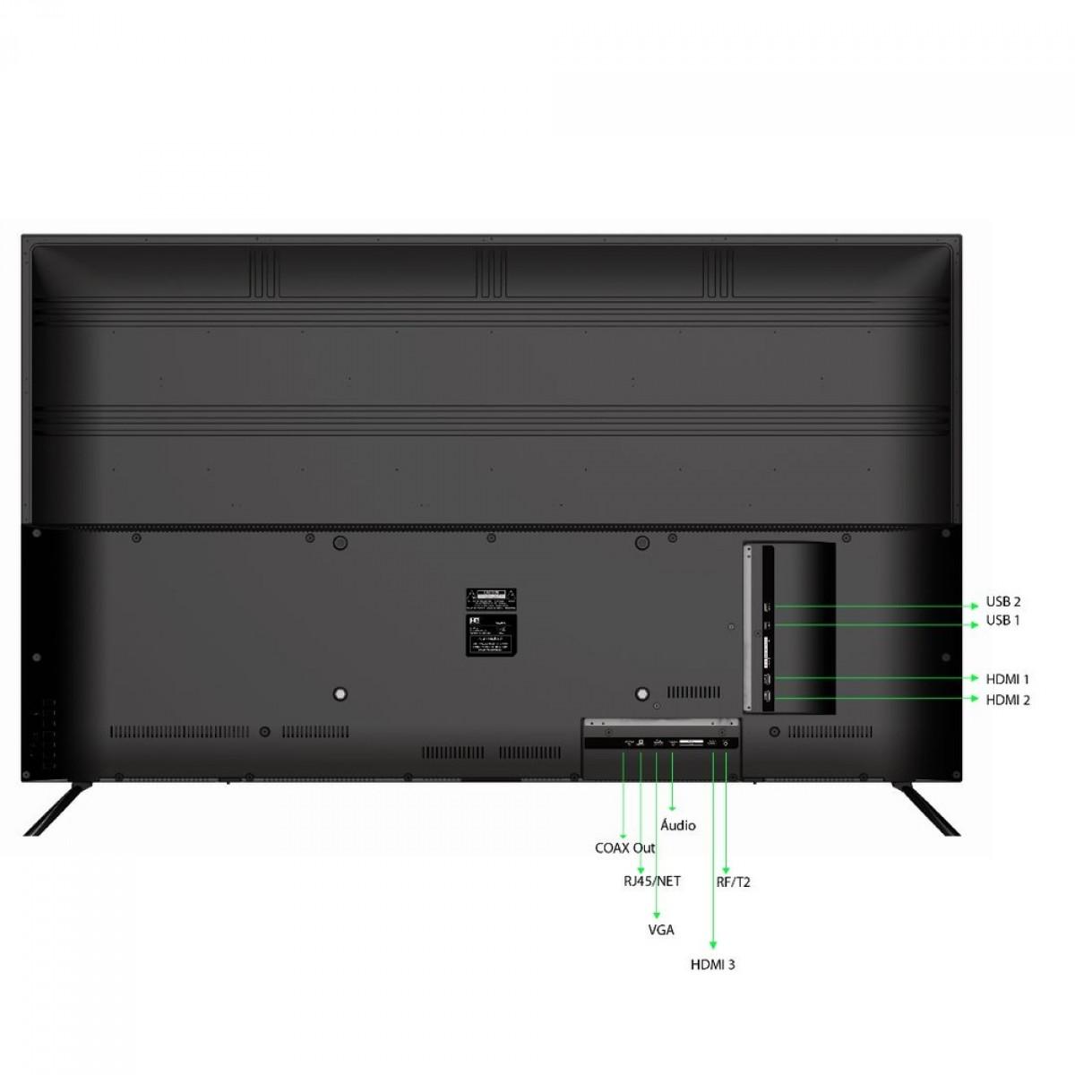 Smart TV LED 50' HQ HQSTV50NY Ultra HD 4K Netflix Youtube 3 HDMI 2 USB Wi-Fi
