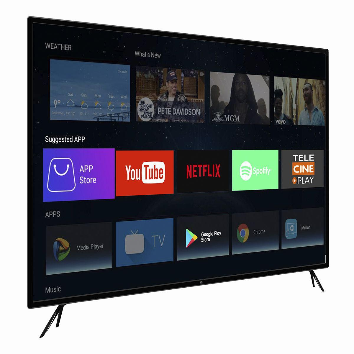 "Smart TV LED 55"" HQ HQSTV55NY Ultra HD 4K Netflix Youtube 3 HDMI 2 USB Wi-Fi"