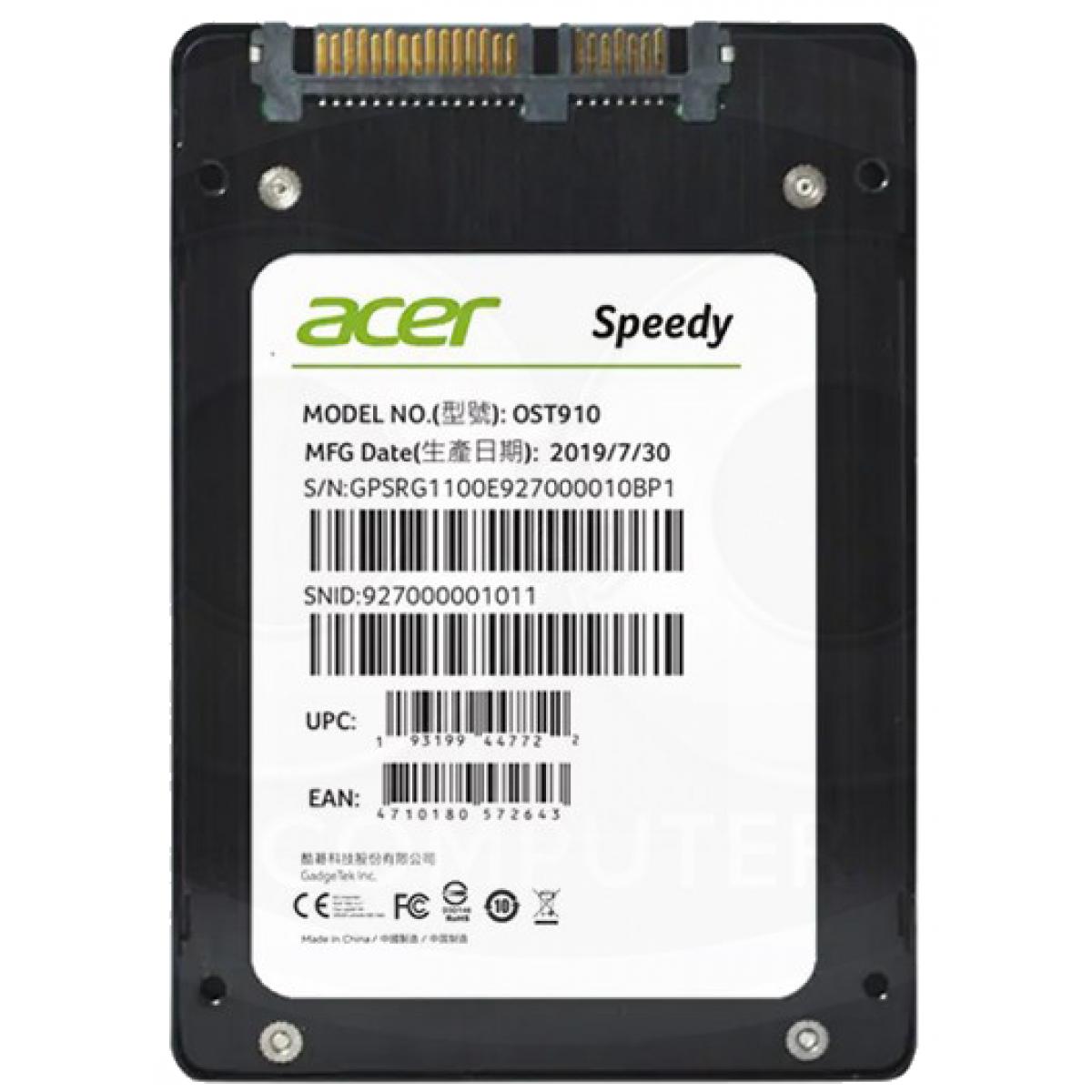 SSD Acer, Speedy, 240GB, SATA III, 550MB/s leitura, 490MB/s gravação, GP.SRG11.00F